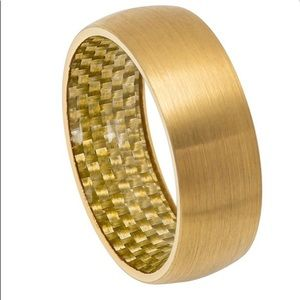 Other - Brushed yellow gold plated domed tungsten ring